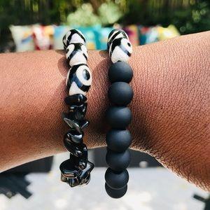 Black chipped on ya and matte black bracelet set
